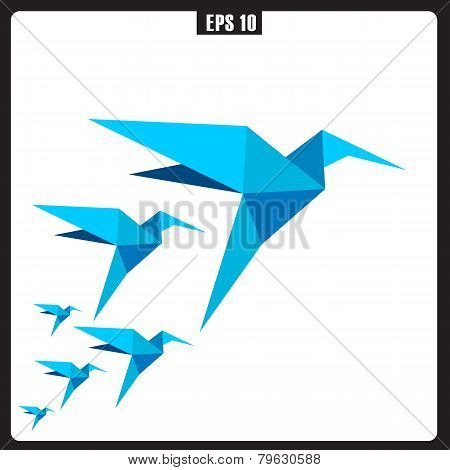 Flying twitter bird icon isolated on white background. Vector illustration