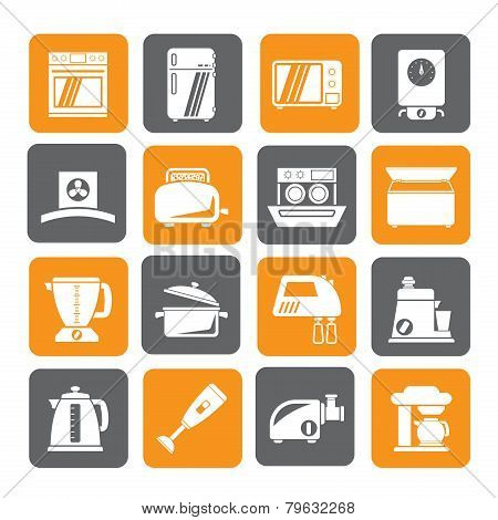 Silhouette kitchen appliances  and equipment icons Silhouette kitchen appliances  and equipment icon