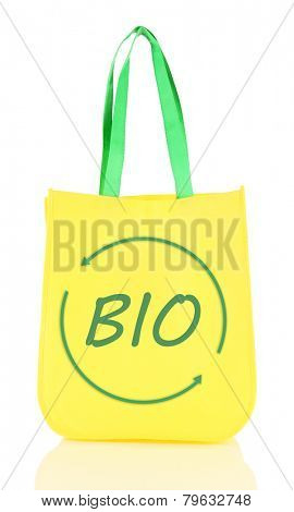 Yellow bag with green handles and bio symbol on it isolated on white