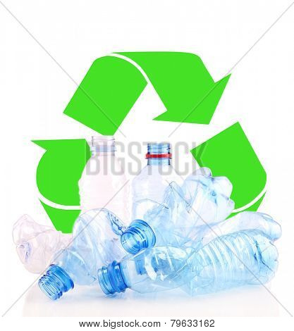 Recycle concept, plastic bottles for recycle isolated on white