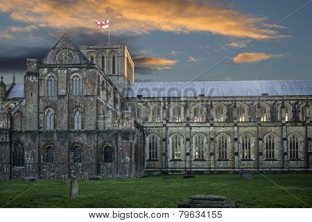 Winchester cathedral at sunset