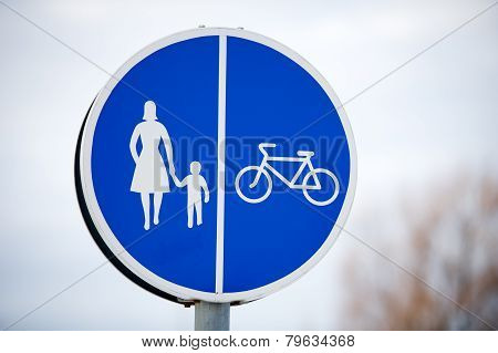 Pedestrian and bicycle shared road sign