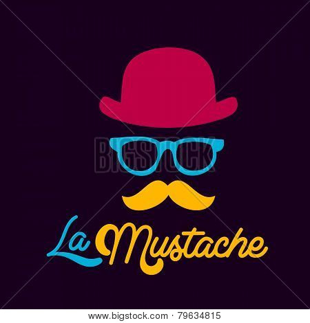 I love Hipster style, glasses and mustaches. vector illustration background