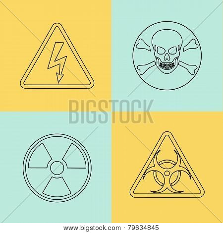 Flat thin line vector warning signs, symbols.