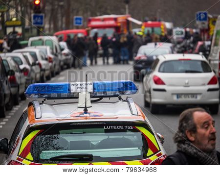 PARIS, FRANCE - JANUARY 7, 2015 Street of Paris after the  Terror attack in Paris at the Charlie Hebdo newspaper.