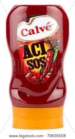 Ankara, Turkey - October 28, 2014: A bottle of Calve hot sauce isolated on white background.
