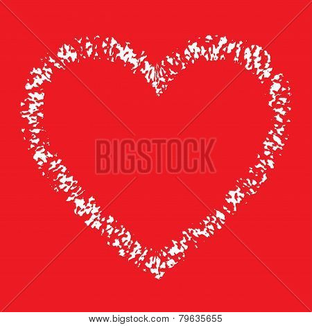 White Hand Drawn Thick Contour Grunge Heart logo