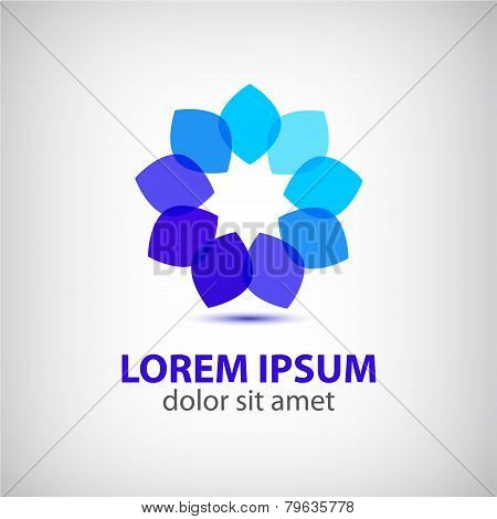 vector spa leaf flower blue abstract icon