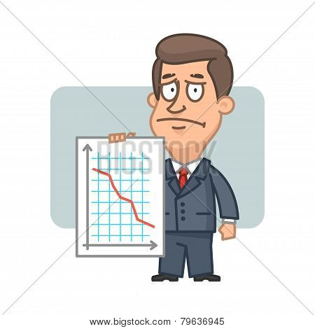 Character businessman holding graph collapse
