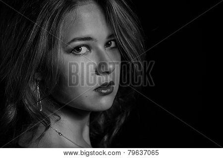 Glamor Woman Dark Face Portrait, Beautiful Female Isolated On Black Background, Stylish Sexy Look