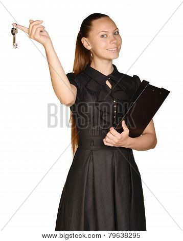 Business beautiful girl holding paper holder and keys.