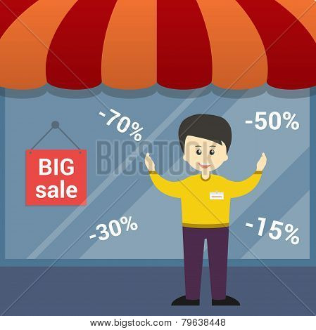 Background on sale and man consultant. Vector design colorful elements.