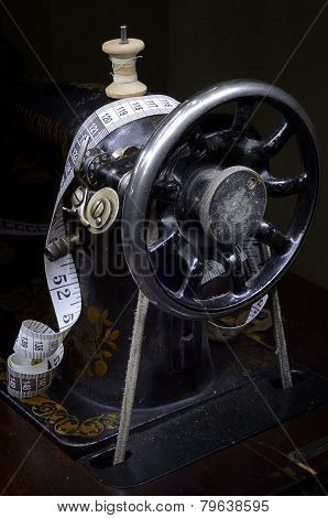 Retro Sewing Mashine From Pulley Side