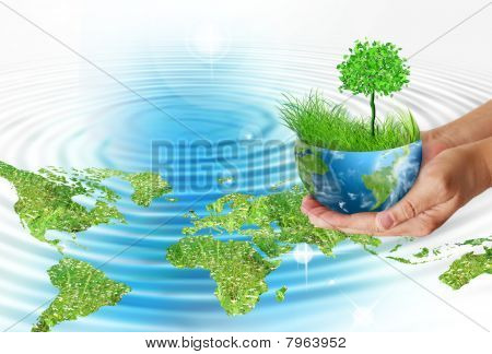 Hands holding globe. Environmental energy concept.