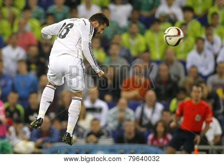 BARCELONA - MAY,11: Nacho Fernandez Iglesias of Real Madrid during the Spanish League match between Espanyol and Real Madrid at the Estadi Cornella on May 11, 2013 in Barcelona, Spain