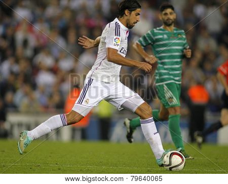 BARCELONA - MAY,11: Sami Khedira of Real Madrid during the Spanish Kings Cup match against UE Cornella at the Estadi Cornella on October 29, 2014 in Barcelona, Spain