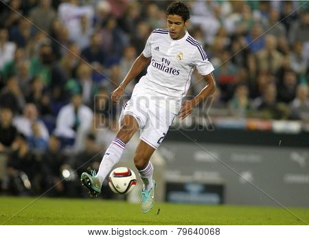 BARCELONA - MAY,11: Raphael Varane of Real Madrid during the Spanish League match between Espanyol and Real Madrid at the Estadi Cornella on May 11, 2013 in Barcelona, Spain