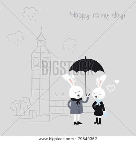 Bunnies with umbrella