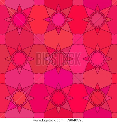 Abstract vector background Seamless geometric floral grid red color