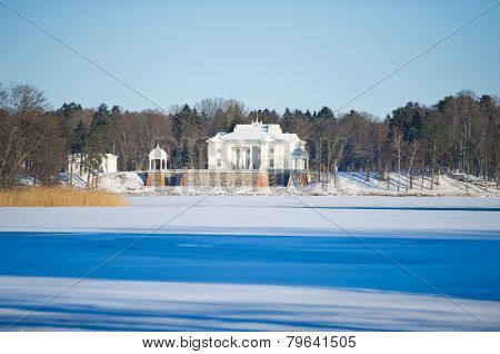 Uzutrakis manor estate in winter, Trakai, Vilnius, Lithuania