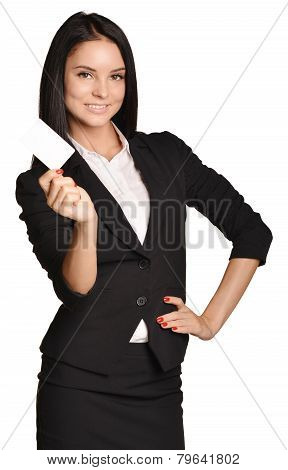 Business woman holding in one hand a blank white business card.