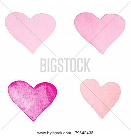 Beautiful Love Card With Light Red   And Pink Hearts Isolated On White Background.