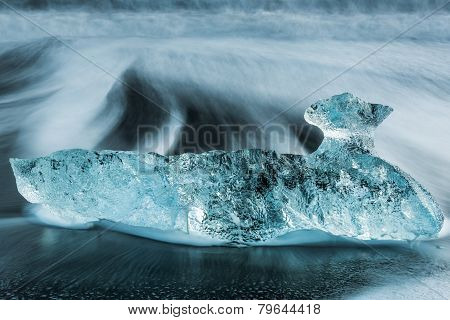 Ice on Jokulsarlon Black beach in Iceland in the cloudy day
