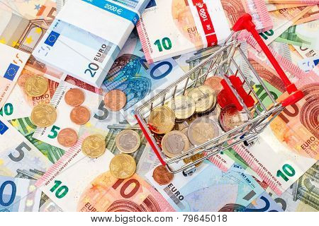 Euro Currency And Shopping Cart
