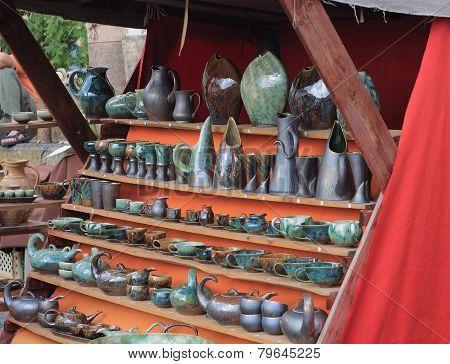 Ttraditional  Market With Handmade Ceramic In Kunstat.
