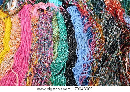 Colorful Necklaces  On Sale In The Market Stall