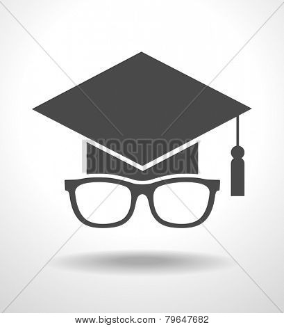 Icon Graduation cap and glasses.  concept of education. The file is saved in the version AI10 EPS. This image contains transparency.