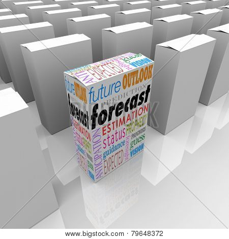 Forecast word on a unique product package or box on a shelf with many others, with special words outlook, prediction, forecast guidance and more