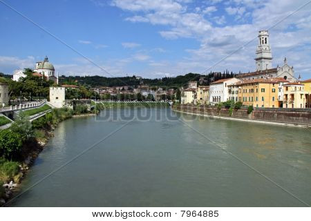 The Adige river and Duomo church