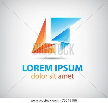 vector abstract origami icon, logo for comapany