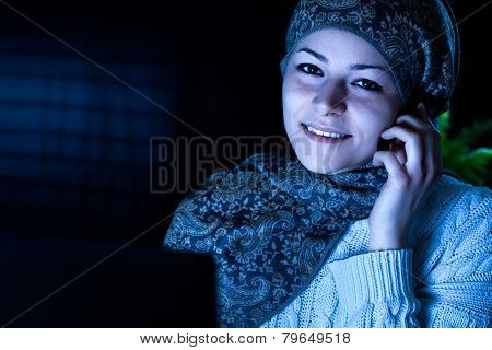 Middle Eastern Woman with Headset