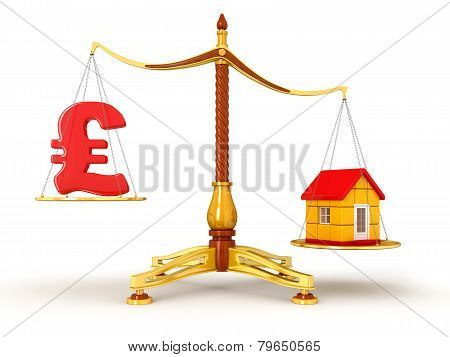 Justice Balance  with Pound and house (clipping path included)