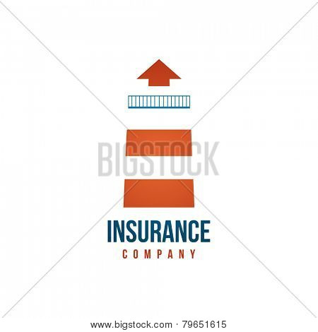 Insurance company logo template with lighthouse on white background