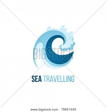 Sea treveling logo template with wave on white background