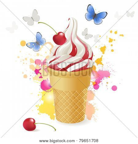 Ice cream over bright background