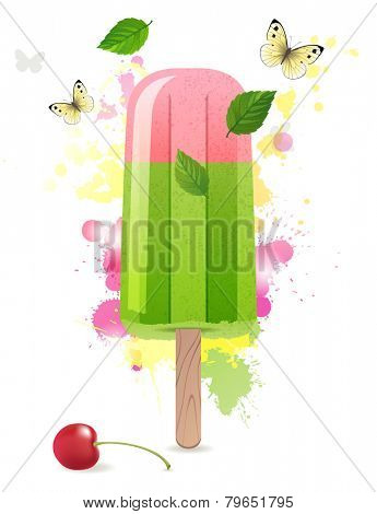 Bright summer time background with ice lolly