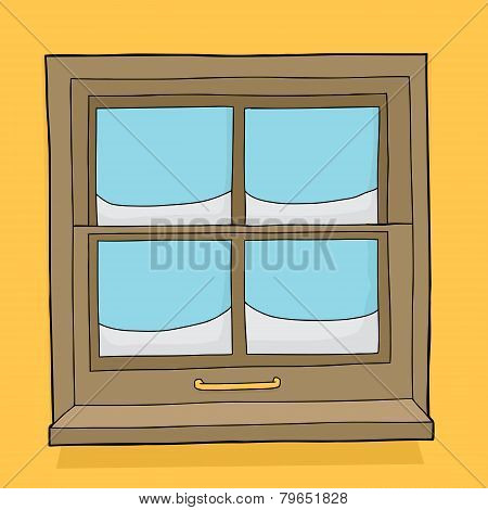 Window Panes With Snow