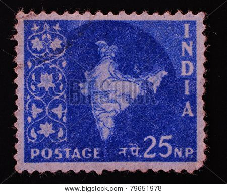 India - Circa 1957: Postal Stamp Printed In India Shows Image Of Dried Tea Leaf On A Blue Background