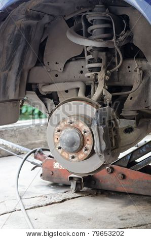 Front Disk Brake Assembly On A Modern Car