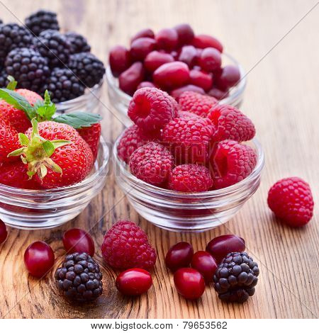 strawberries, dogwood, blackberries and raspberries in bowls,