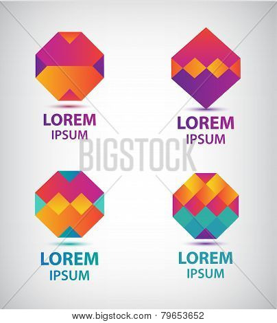 set of vector abstract colorful geometric logos
