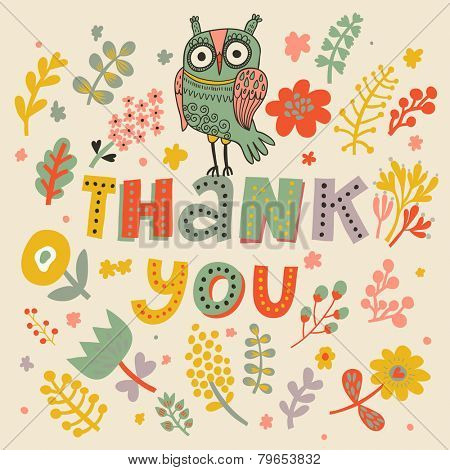 Thank you - bright concept card in vector. Owl in hearts and flowers. Romantic background in cartoon style
