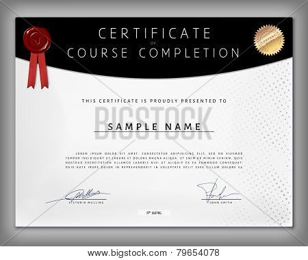 Certificate Of Computer Programming Course Completion On Dotted Paper In Vector