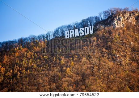 Brasov Sign On Top Of Tampa Mountain On A Sunny Autumn Day