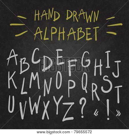Alphabet On Chalkboard.