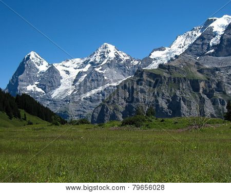 Eiger, Mönch and Jungfrau in the Summer